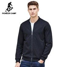 Pioneer Camp casual męskie kurtki marka odzież jesienno zimowa solidny płaszcz męski jakość 100% bawełna ourterwear czarny 622215