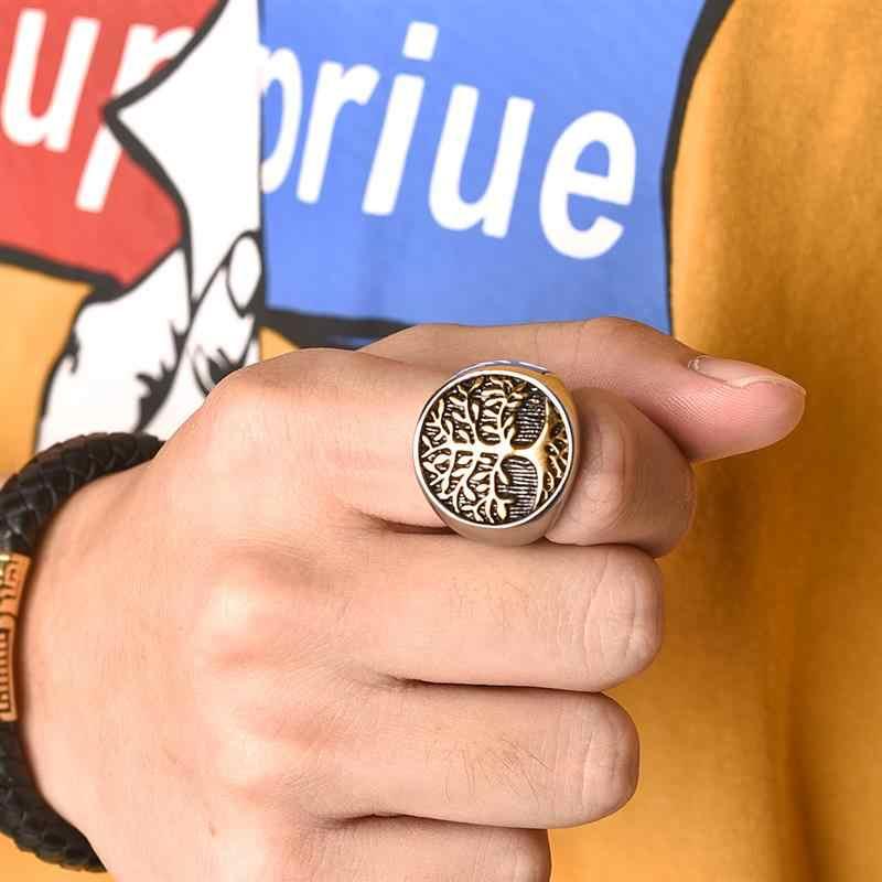 Jiayiqi Стильное кольцо из нержавеющей стали Дерево жизни для мужчин женщин серебряное Золото Цвет обручальное кольцо новое в стиле панк-рок и хип-хоп ювелирные изделия подарок