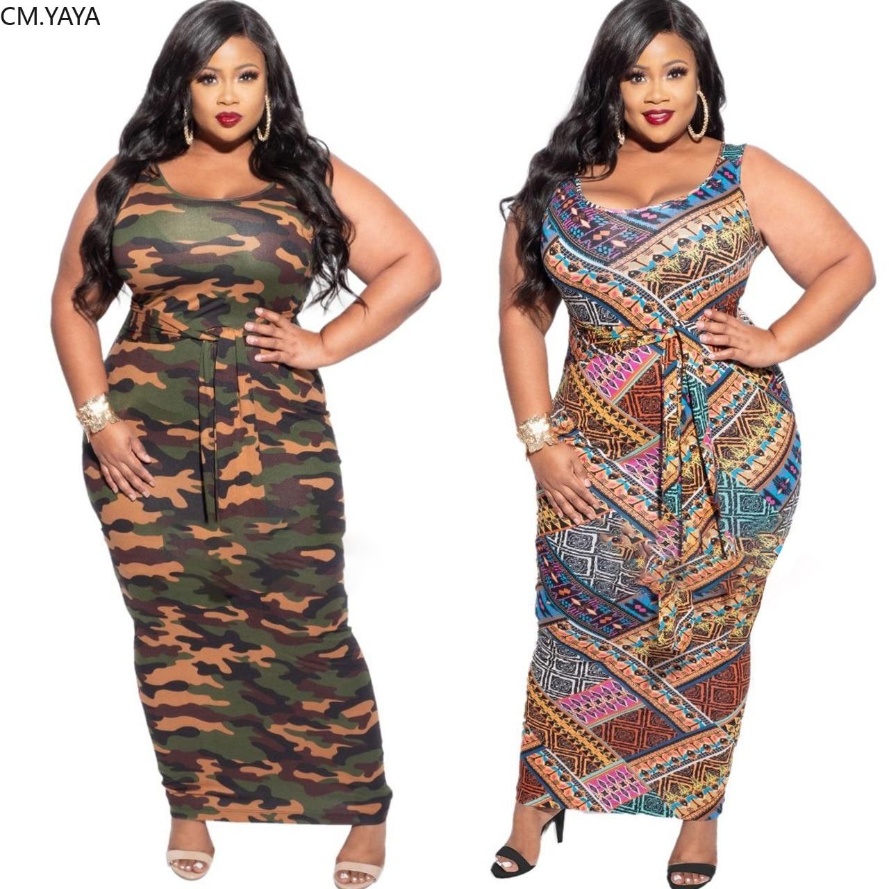 CM.YAYA Mulheres Plus Size XL-5XL Camouflage Imprimir Bodycon Midi Maxi Vestido Sem Mangas Com Faixas Sem Mangas O Pescoço Streetwear
