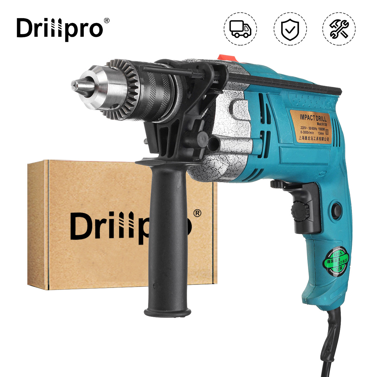 Drillpro 1980W 3800rpm 220V Electric Impact Drill Kit Handheld Flat Drill Rotary Hammer Multifunction   Scale Wrench Handle Bar