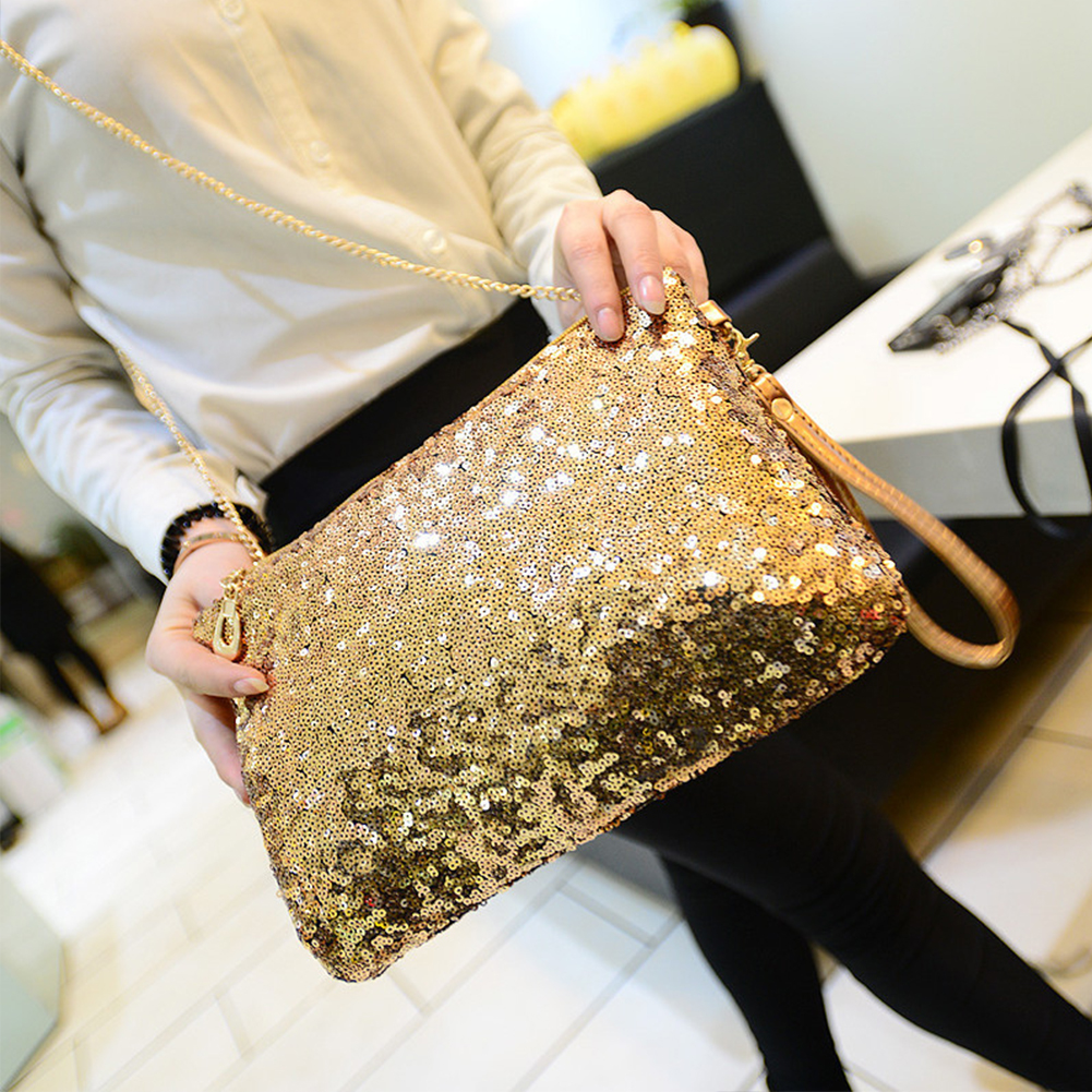 Evening Party Glitter Shoulder Bag Club Sequins Zipper Chain Detachable Strap Large Capacity Fashion Women