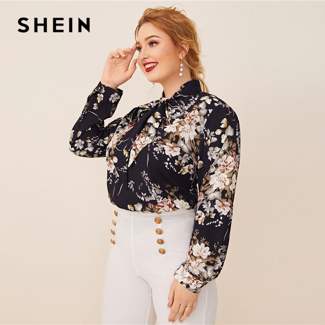 SHEIN Plus Size Navy Tie Neck Botanical Print Top Women Autumn Solid Elegant Office Lady Womens Plus Tops and Blouses 1