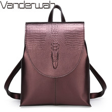 2020 Women Backpack Vintage Crocodile Female Leather Backpacks Mochilas School Bag For Girls Shoulder Bag Large Travel Backpack