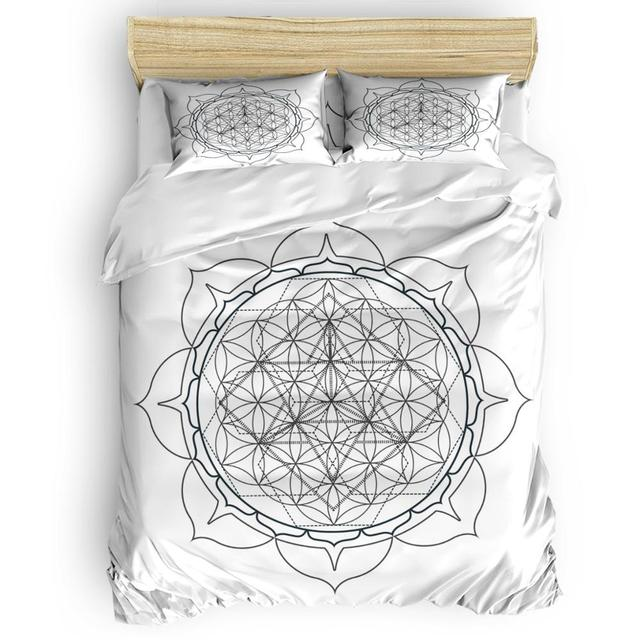 Sacred Geometry Duvet Cover Set Chakra Points In Vintage Concentric Rings Of Partial Circle Zen Theme Image Bedding Set Bedding Sets Aliexpress
