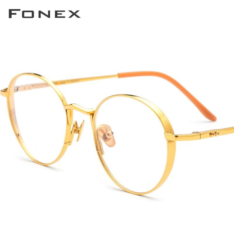 FONEX lunettes de Prescription en titane pur hommes ultra-léger rétro rond myopie optique montures femmes Vintage lunettes 879