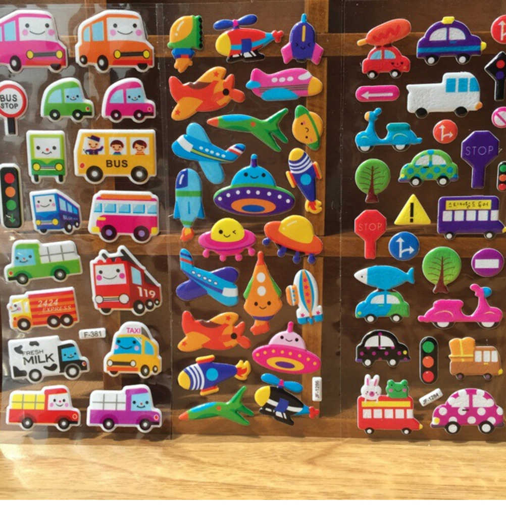 10 Different Sheets DIY Sticker Butterfly Car Animals Girls Boys Kids Children Gifts 3D Cartoon Stickers Waterproof Bubble PVC