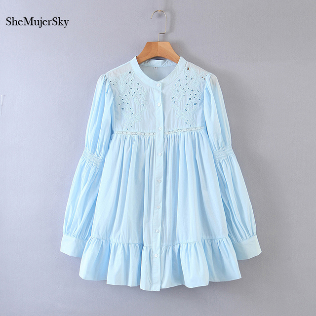 SheMujerSky White Embroidery Hollow Out Blouse Autumn O-neck Long Sleeve Tops 2020 Spliced Buttons Long Shirts blusas 2