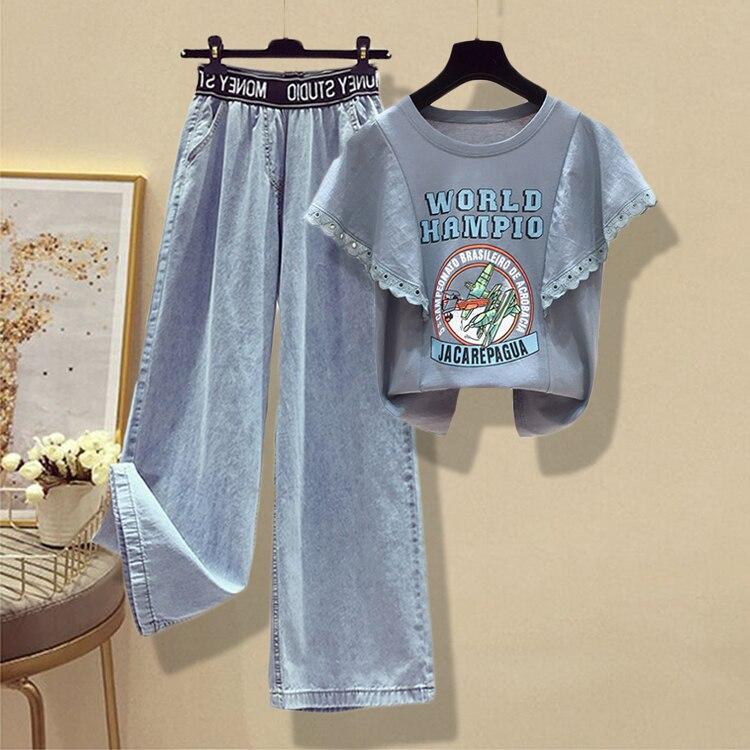 Cyanlee Fashion Summer  2020 Women 2 Piece Set Plus Size Cartoon Cartoon Shirt + Loose  Jeans Wide Leg Long Pants Suit