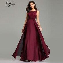 ใหม่ปีชุดสตรียาว 2020 เซ็กซี่A Line O Neckชีฟองลูกไม้ฤดูร้อนBeach Elegant Burgundy Party Gowns
