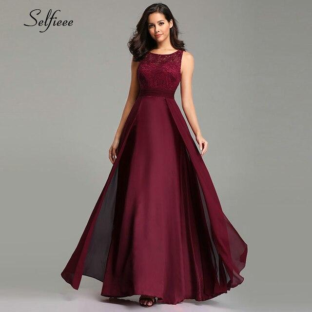 Noworoczne sukienki damskie długie 2020 seksowna linia bez rękawów O neck szyfonowa koronkowa letnia sukienka plażowa eleganckie burgundowe sukienki na przyjęcie
