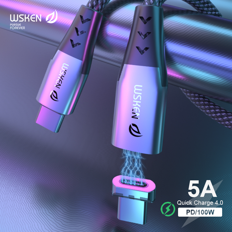 WSKEN 5A Magnetic USB Type C To USB C Cable For MacBook Pro 100W PD Magnet Charger USB-C Type-C Wire Cord For Huawei Data Cable