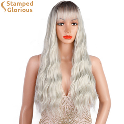 Stamped Glorious Long Wavy Wig with Bangs for Women Long Platinum Wig Synthetic Wavy Wig for Daily Use Party Wig