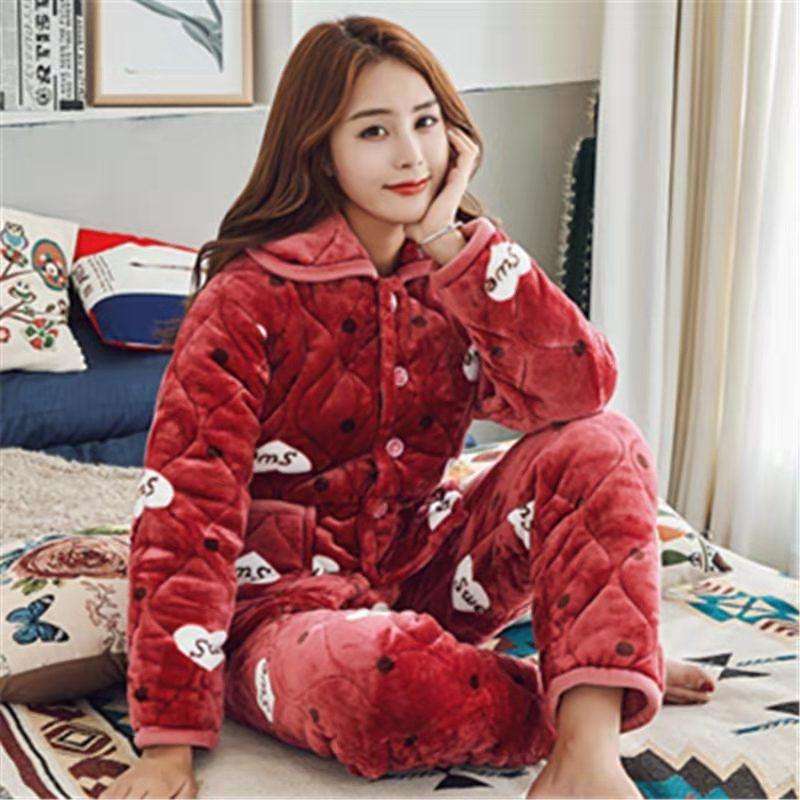2 Piece Winter Women Pajamas set Sweet Thick Flannel Long Homewear Sleep Lounge Velvet Pajama Female Pyjama 31