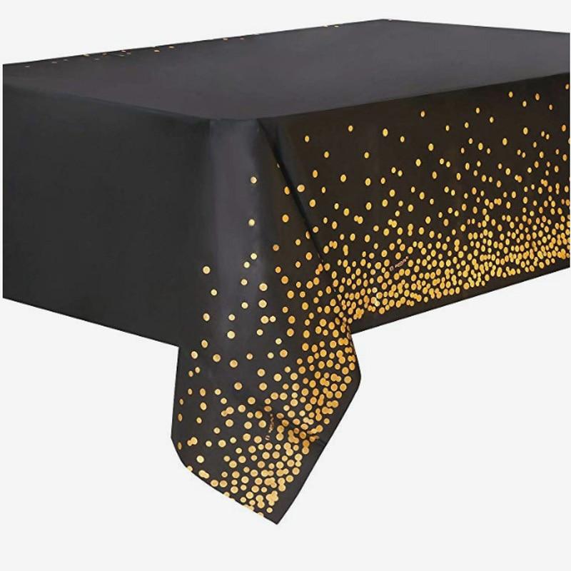 Gold Polka PE Plastic Tablecloth 54