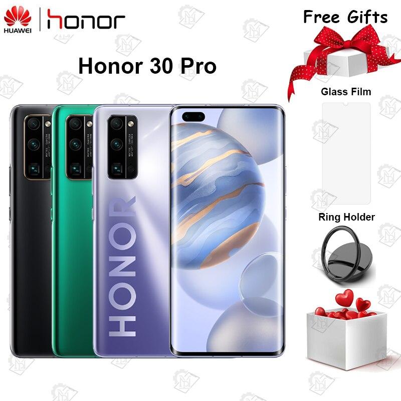 Original Honor 30 Pro Mobile Phone 6.57 inch 8G RAM 128G ROM Kirin 990 Octa Core Android 10 50x Digital Zoom 40MP 5G Smartphone