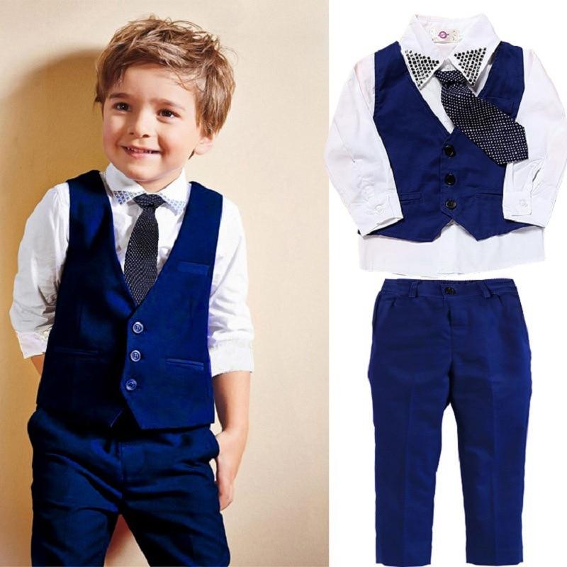Boys Gentleman Suit Set Vest Shirt Pant Tie 4Pcs Kids Wedding Ring Bearer Formal Wear Children Autumn Clothing