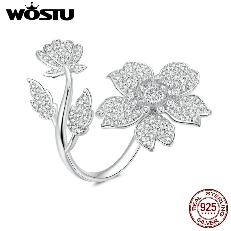 WOSTU 100% 925 Sterling Silver Sakura Blooms Flower Rings Adjustable Delicate Wedding Ring Clear Zircon Fashion Jewelry CTR076