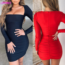 2019 autumn and winter new European and American fashion women's sexy square collar long-sleeved slim bag hip mini dress 2019 autumn new european and american women s personality stitching ruffled long sleeved round neck slim bag hip dress