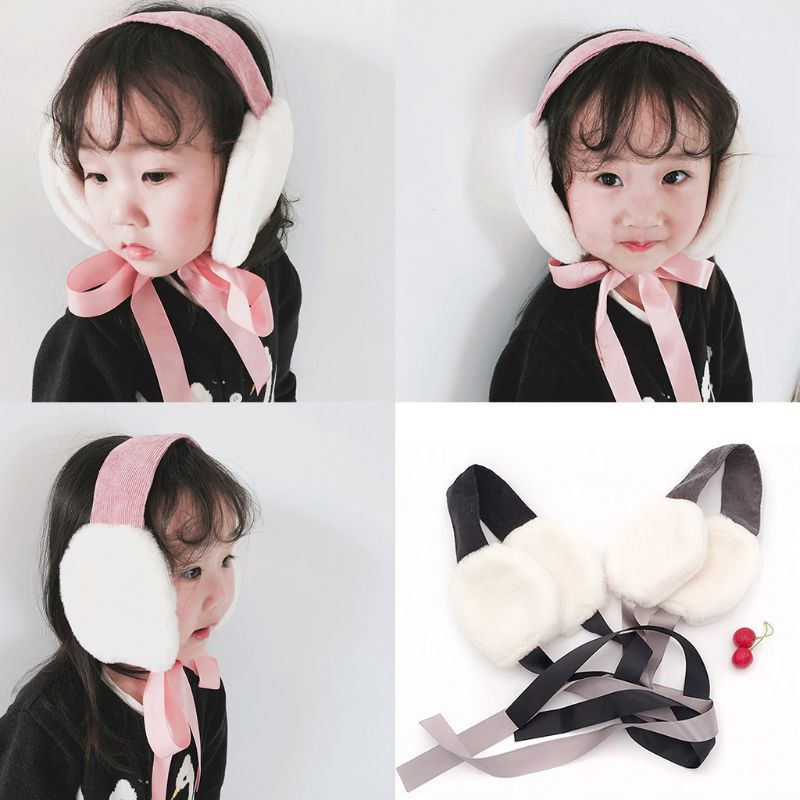 Children Girls Boys Winter Thicken Plush Earmuffs Outdoor Sweet Foldable Portable Ear Warmer Headband With Ribbon Tie 2-8T LX9E