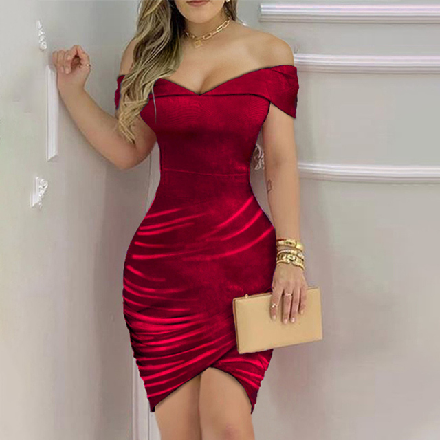 Women Sexy Shiny Off Shoulder Sleeveless Ruffles Ruched Nightclub Bodycon Dress Party Dresses 3