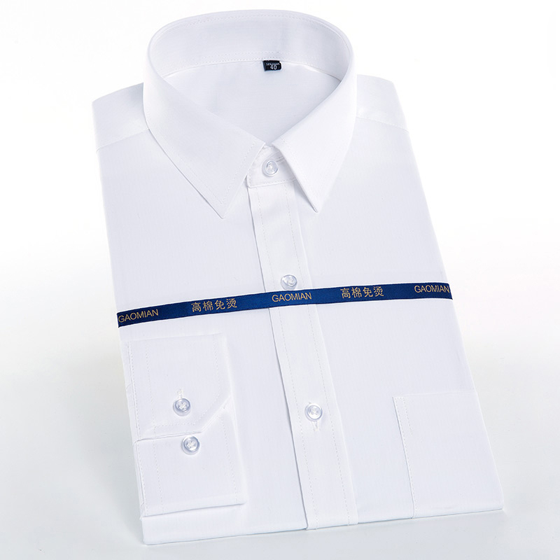 Men's Standard-Fit Long Sleeve Easy Care Shirt Single Pocket High-quality Formal Business Work Office Solid Basic Dress Shirts