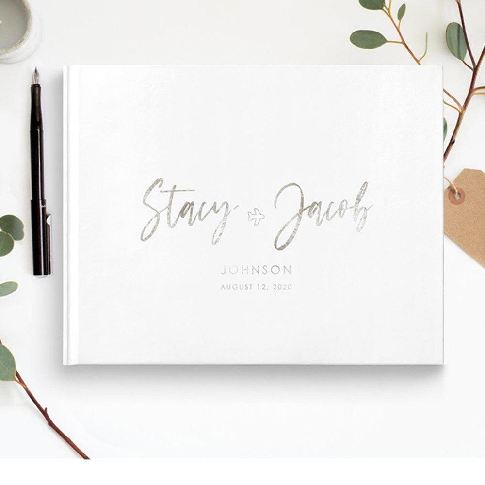 Silver Foil Calligraphy Silver Foil Wedding Guest Book Guest Book Custom Guest Book Signature Book Wedding Wedding Guest Book