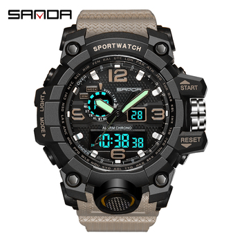 SANDA LED Quartz Clock Sport Watch Military Watch 30m Waterproof Wristwatch Male relogios masculino Swimming Watch Men S Shock baogela men s leisure quartz watches fashion clock leather strap analogue wristwatch relogios masculino 3atm waterproof bl1808
