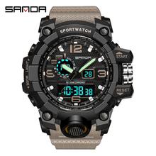 SANDA LED zegarek kwarcowy zegarek sportowy zegarek wojskowy 30m zegarek wodoodporny męski relogios masculino zegarek do pływania mężczyzn S Shock tanie tanio Z tworzywa sztucznego 25cm 3Bar Cyfrowy Klamra ROUND 22mm 16mm Podświetlenie Odporny na wstrząsy Wyświetlacz led Luminous