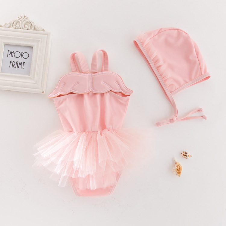 KID'S Swimwear Girls Siamese Swimsuit Angel Wings Yarn Edge Swimwear Holiday Hot Springs Tour Bathing Suit