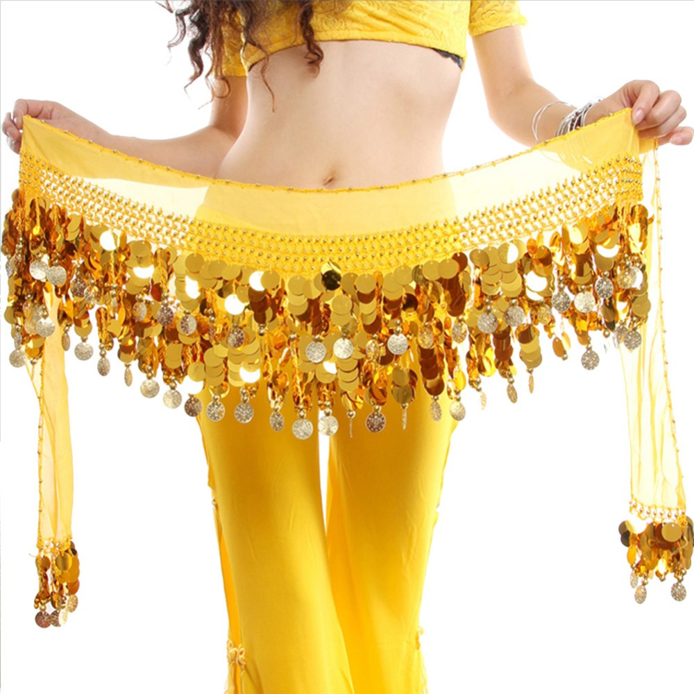 2019 Belly Dance Hot Sale Women New Yellow Bellydance Costume Hip Scarf Wrap Sequins Belt Coins Chiffon Skirt Hot