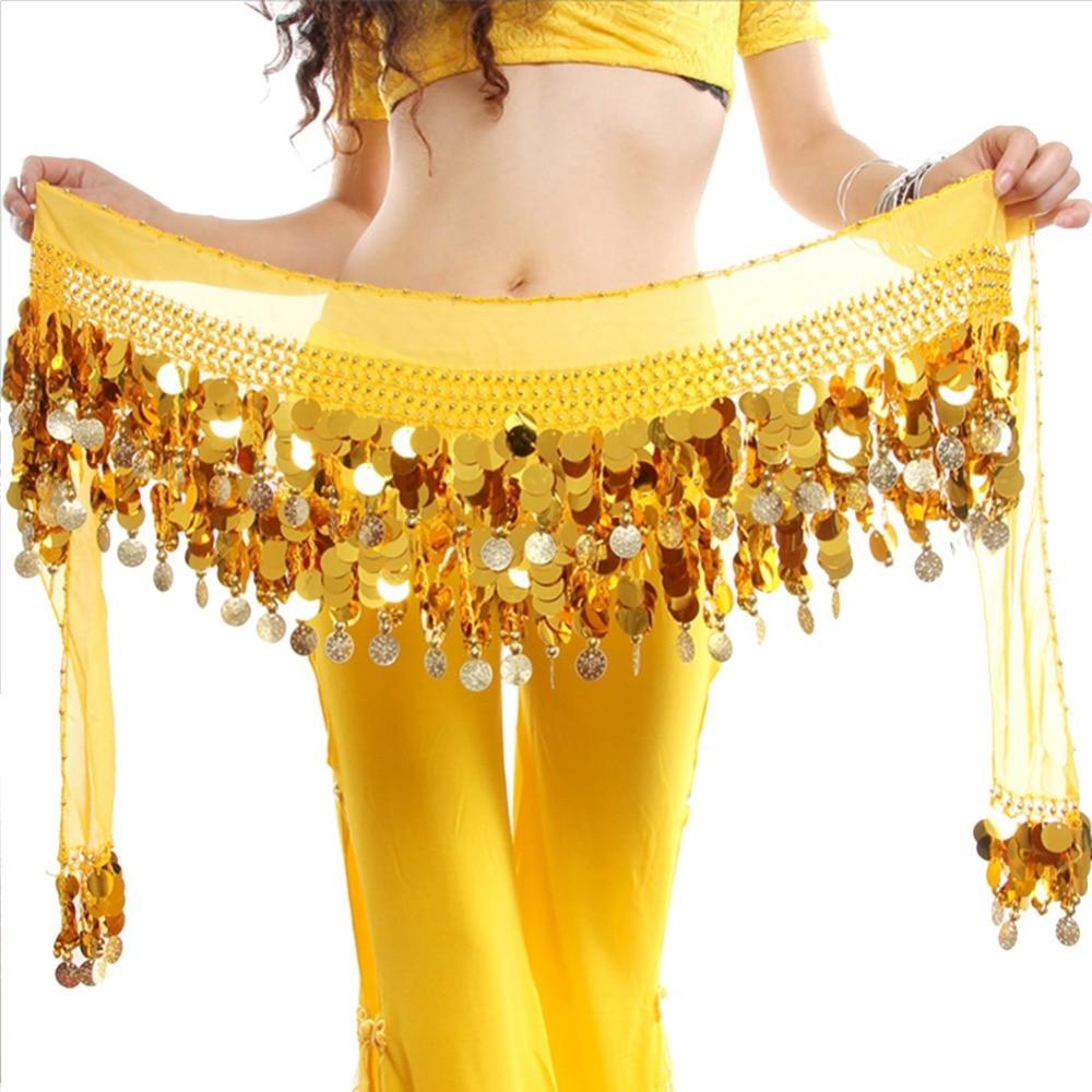 2019 Belly Dance Hot Sale Women New Yellow Bellydance Costume Hip Scarf Wrap Sequins Belt Coins Chiffon Skirt Hot