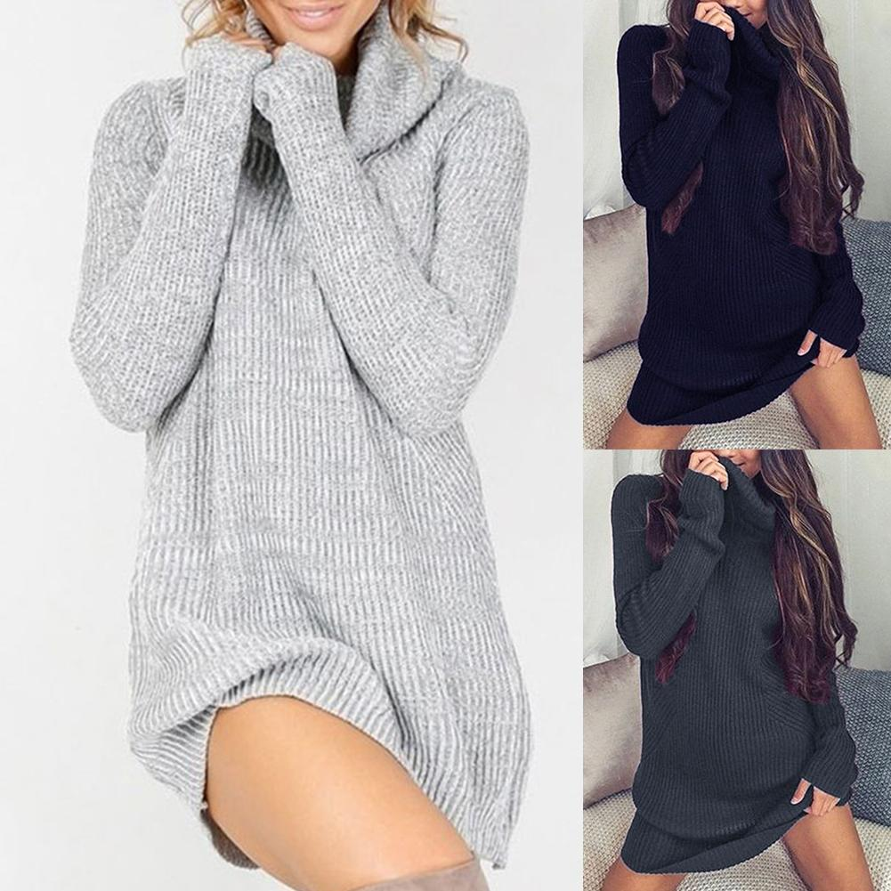 Chic Women Solid Color Turtleneck Long Sleeve Casual Loose Knitted Sweater Dress Polyester/Spandex Casual Warm Women's Sweater