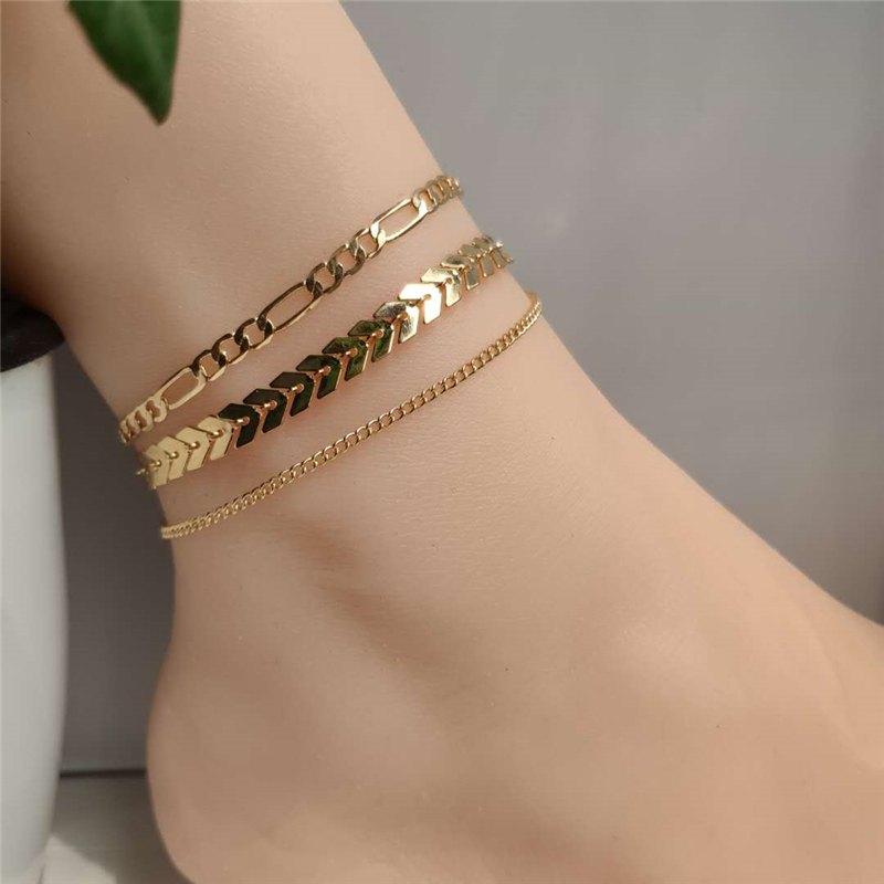 4 PCS/Set Simple Figaro Chain Anklets for Women Fashion Gold Silver Color Ankle Bracelet on Leg 2020 Bohemian Beach Foot Jewelry