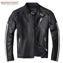 Jacket Clothing Skin-Coat Natural 100%Genuine-Cowhide White Slim Autumn Stripes Men M420