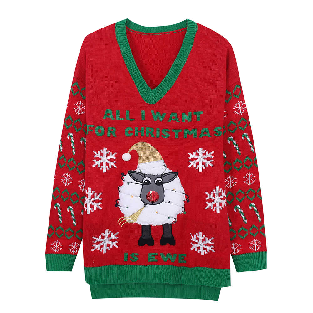 LED Light-up Knitted Ugly Jumper Sheep Sweater Santa Claus Xmas Pattern Christmas Sweater Green Top Men Womens Wear Love Sweater