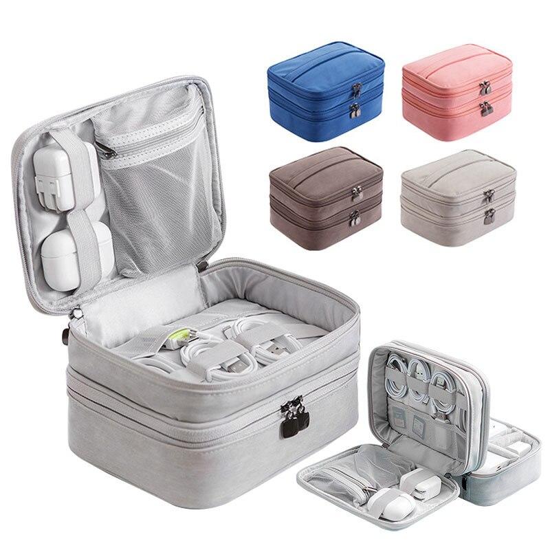Противоударная Цифровая USB-сумка для зарядного устройства, водонепроницаемый дорожный аксессуар, органайзер для электронных проводов и ка...