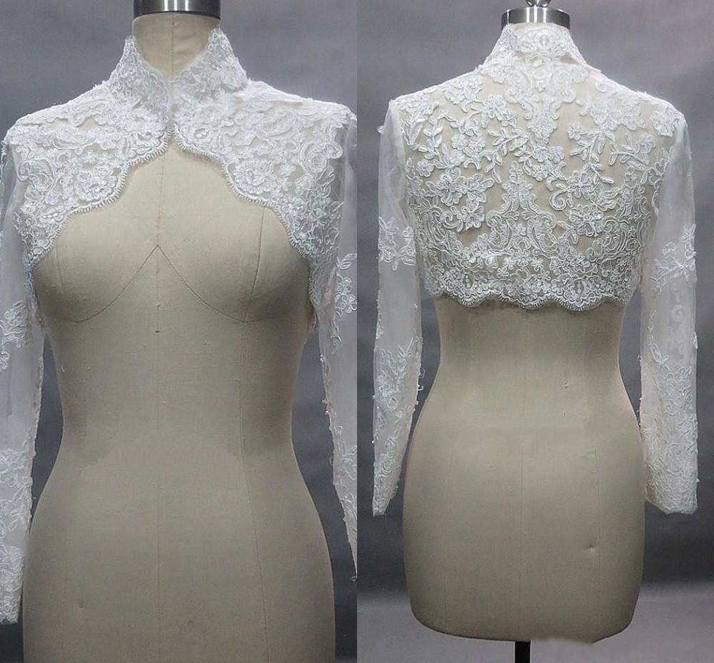 High Neck Long Sleeve Lace Bolero Jacket For Wedding Bridal Dress Jackets For Evening Prom Party Plus Size