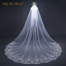 Ivory Veil 3 Meters Long Formal Wedding Accessories Bridal with Lace Appliques and Comb