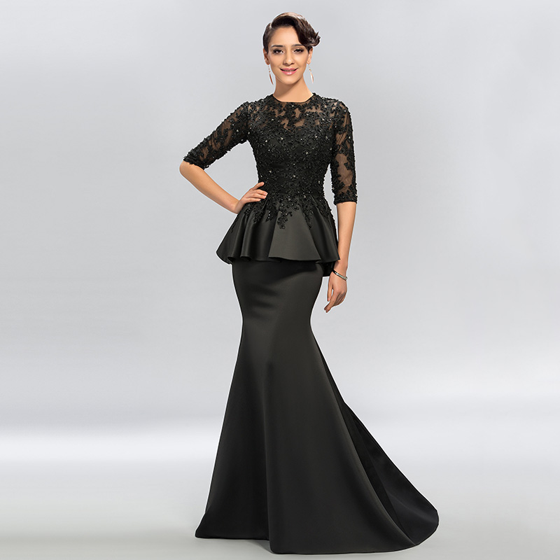 Dressv Vintage Black Mermaid Lace Long Evening Dresses Half Sleeves Beaded scoop neck long appliques evening