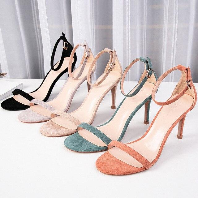2020 קיץ נשים של סנדלי נעלי אישה 8.5cm דק עקבים גבוהים פלוק מוצק קרסול רצועות צר אלגנטי קלאסי משרד ליידי משאבות