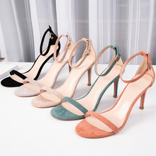 2020 Summer Womens Sandals Shoes Woman 8.5cm Thin High Heels Flock Solid Ankle Straps Narrow Elegant Classic Office Lady Pumps