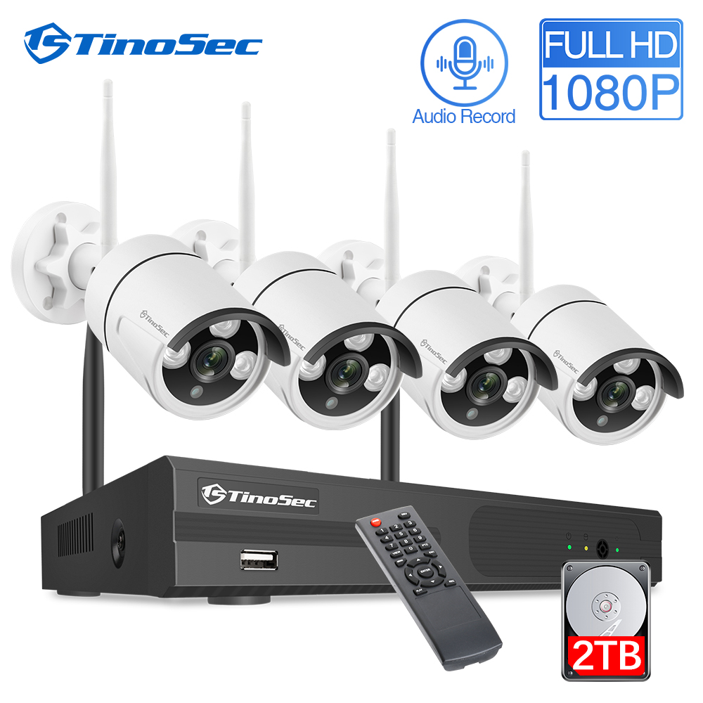 TinoSec 4CH Wireless NVR Kit 1080P HD Audio Wifi Kamera Outdoor Home Security Kamera System CCTV Video Überwachung NVR kit