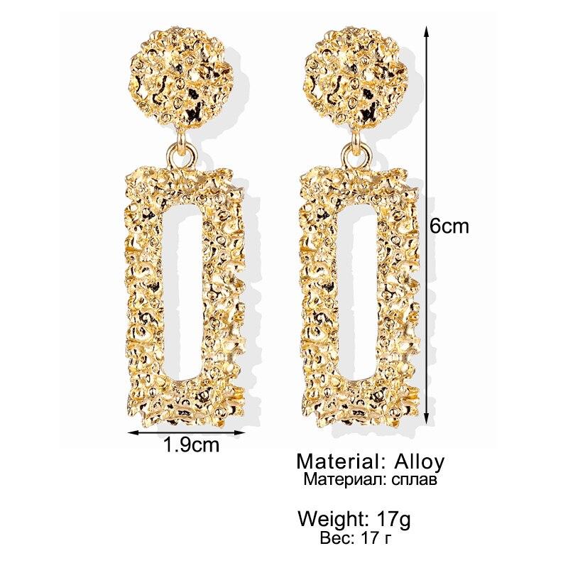 VKME Fashion Oversize metal Earrings For Women Girls Brinco Big Hoop Earrings Circle Earring Statement Geometric Fashion Jewelry 5