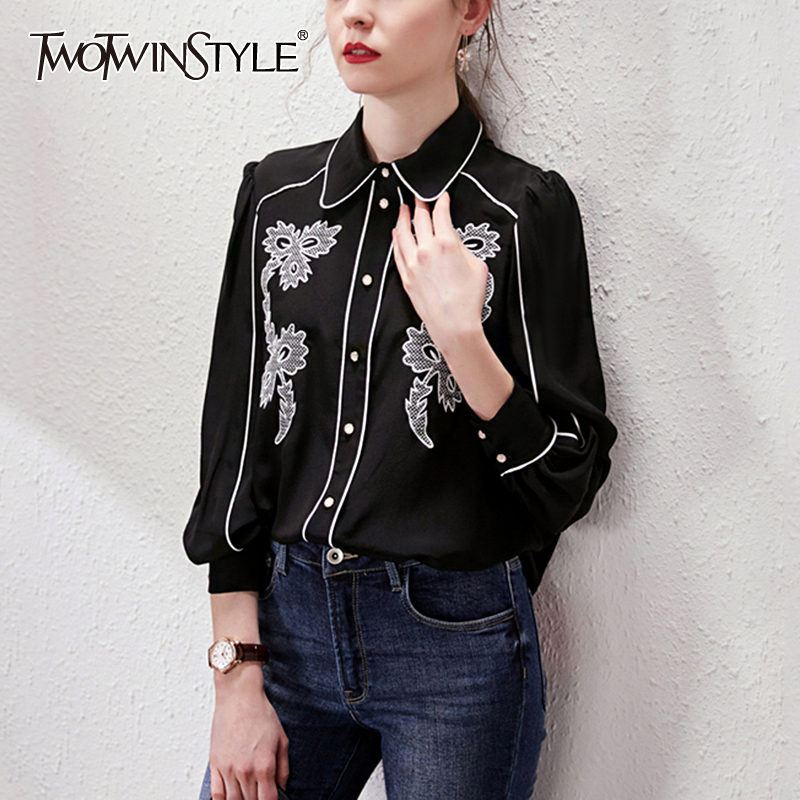 TWOTWINSTYLE Casual Patchwork Lace Women Blouse Lapel Collar Lantern Long Sleeve Loose Hit Color Shirt Female Fashion Clothing