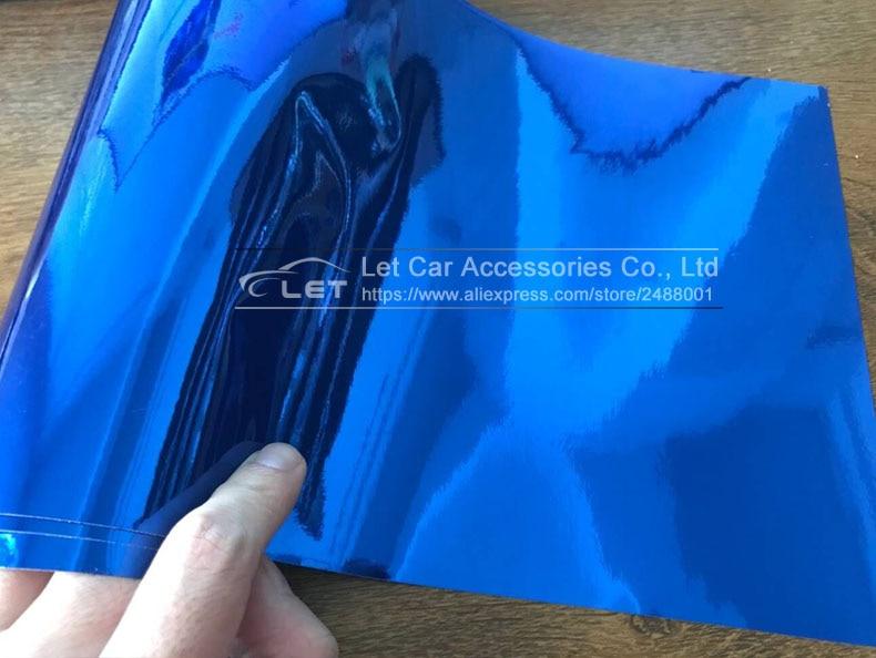 Автомобильный стиль, высокая растягивающаяся Водонепроницаемая УФ-защита, синий хром, зеркальная виниловая пленка, лист, рулонная пленка, автомобильная наклейка, наклейка, лист
