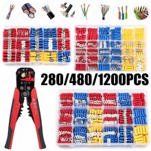 280/480/1200pcs Insulated Cable Connector Electrical Wire Assorted Crimp Spade Butt Ring Fork Set Ring Lugs Rolled Terminals Kit