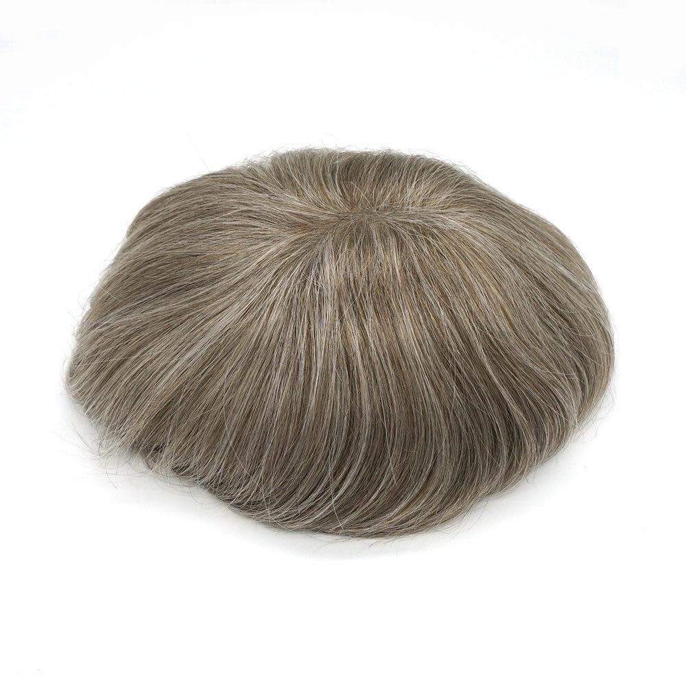 Hstonir 1750# Brown Grey Men Toupee Super Thin Skin Indian Remy Hairpiece H078