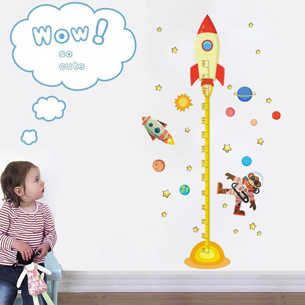 DIY Outer Space Planet Monkey Pilot Rocket Decal Height Wall Growth Room Gifts For Kids Nursery Measure Sticker Baby Chart R0F5