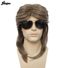 Ebingoo 70s 80s Halloween à bascule mec Punk métal Rocker Disco mulet longue ligne droite synthétique Cosplay perruque pour hommes déguisement fête