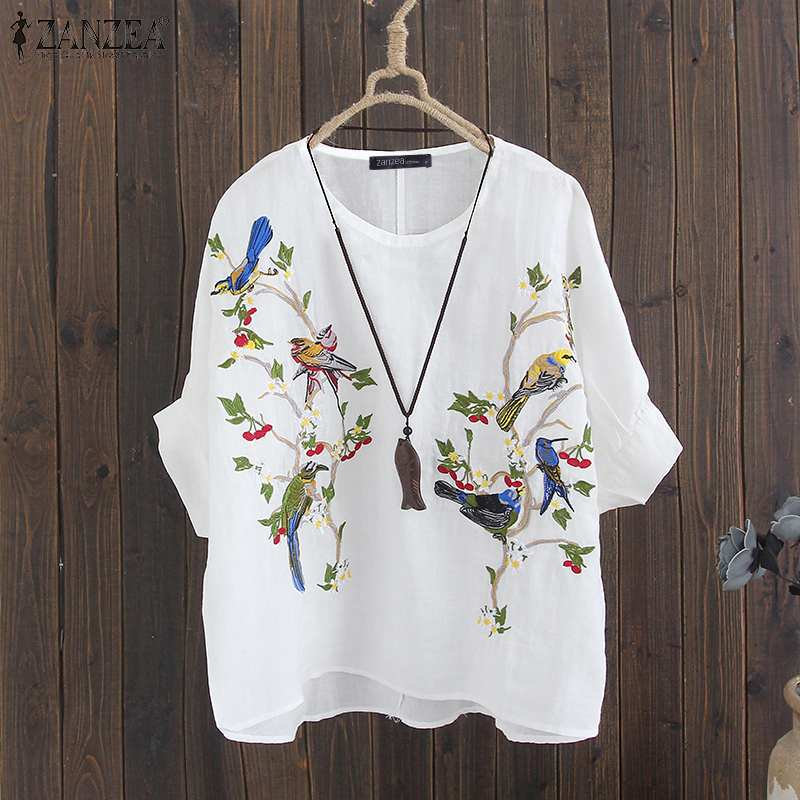 2019 Autumn Embroidered Blouse ZANZEA Women 3/4 Sleeve Shirts Vintage Casual O Neck Cotton Loose Party Tunic Tops Female Blusas